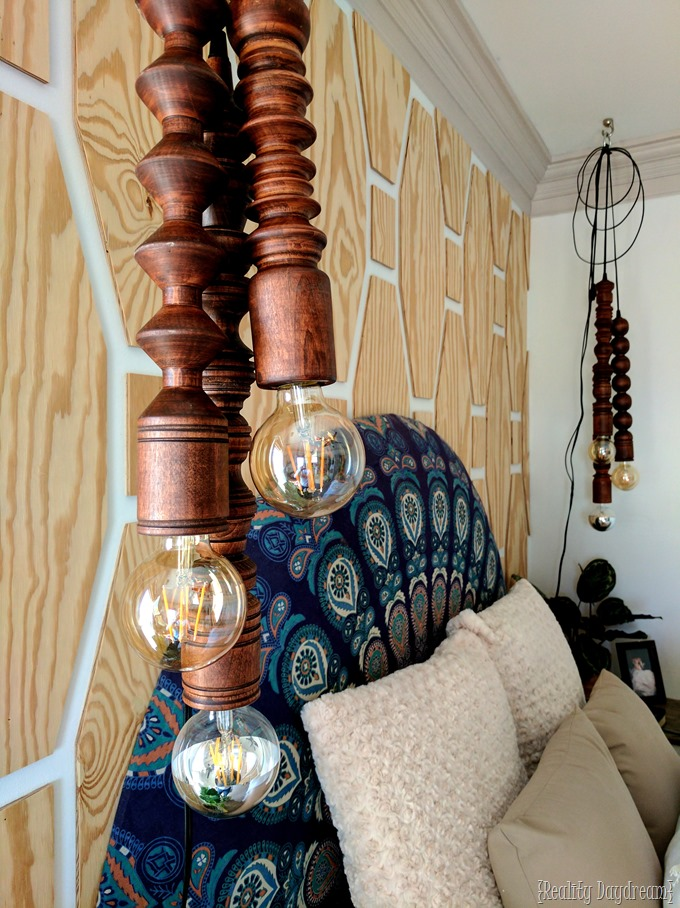Hanging Wooden Pendant Lights for above the bedside table. Made with a lathe!! {Reality Daydream}