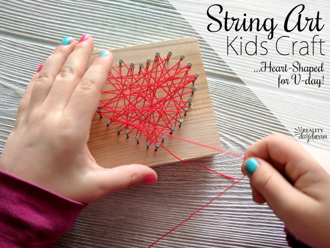 Heart shaped String Art Craft for Kids - perfect for Valentine's Day!! {Reality Daydream}