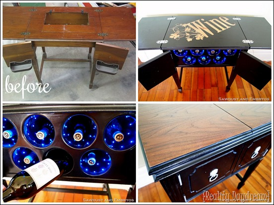 Old sewing table turned wine rack with LED lights {Reality Daydream}