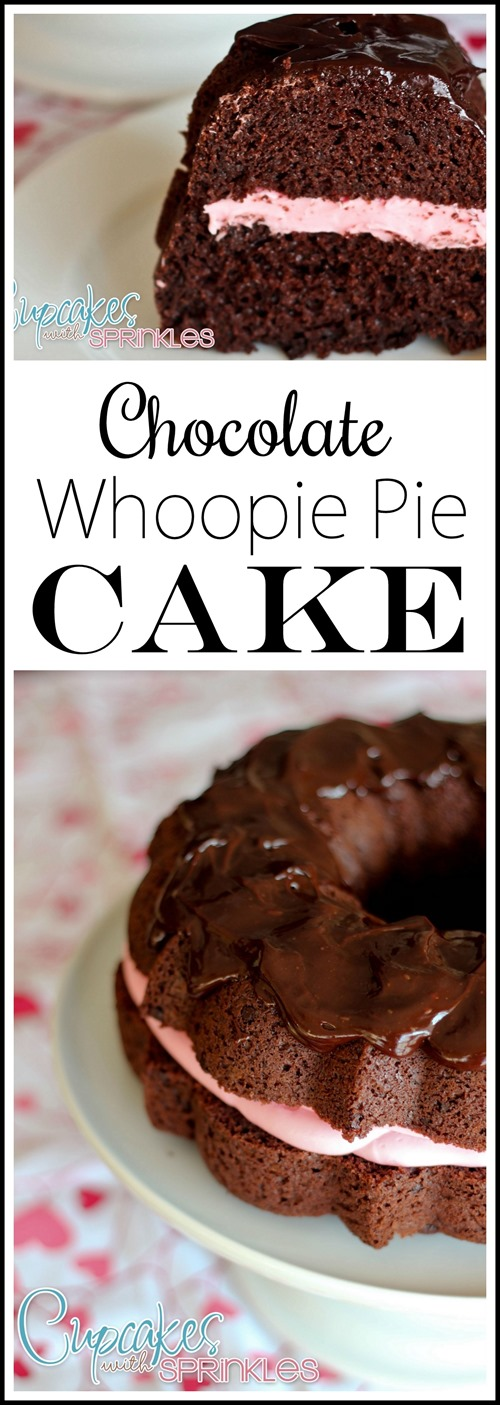 Recipe for Chocolate Whoopie Pie Cake... with marshmallow filling! PINK for Valentine's Day!