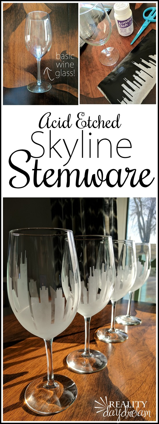 SImple tutorial for making these Acid Etched Skyline Stemware Wine Glasses (Chicago!) #personalized {Reality Daydream}