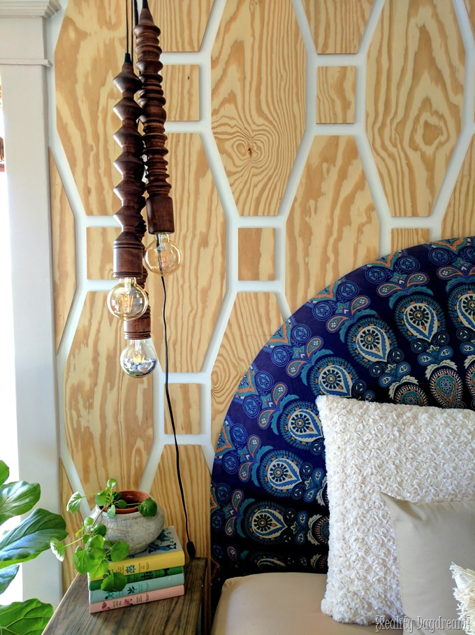 Wooden Turned Pendant Lights above the bedside table! {Reality Daydream} #boho