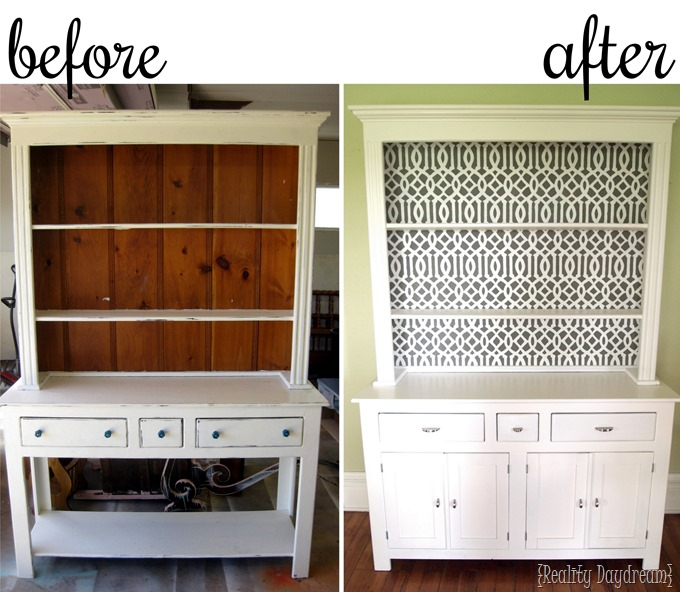 Adding stencils to furniture makes all the difference. AND you can make your own stencil with this tutorial! {Reality Daydream}
