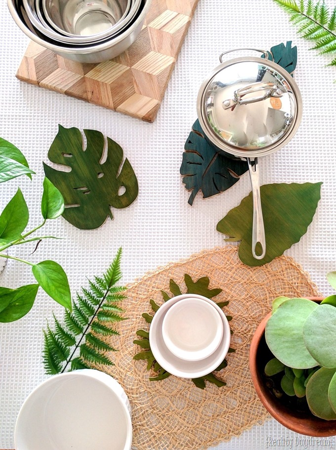 DIY Botanical Leaf Trivets made out of a cutting board and cut with a scrollsaw! {Reality Daydream}