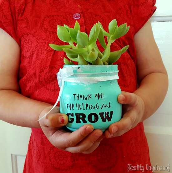 Darling Teacher Appreciation Gift Idea with Homemade little Succulent Pots that say 'thanks for helping me GROW!'