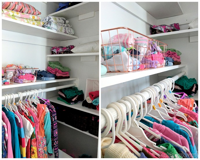 Simply ADD SHELVING to maximize space and add so much storage in any builder grade closet! Perfect for kids closets #organization {Reality Daydream}
