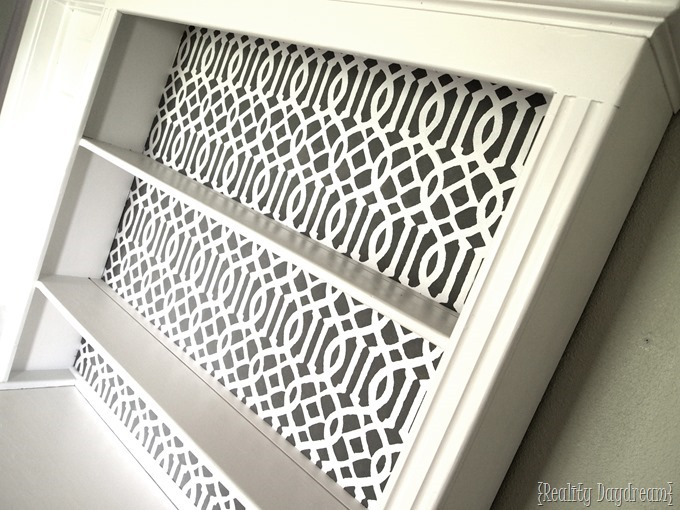 Stenciled hutch using a stencil I made myself! {Reality Daydream}