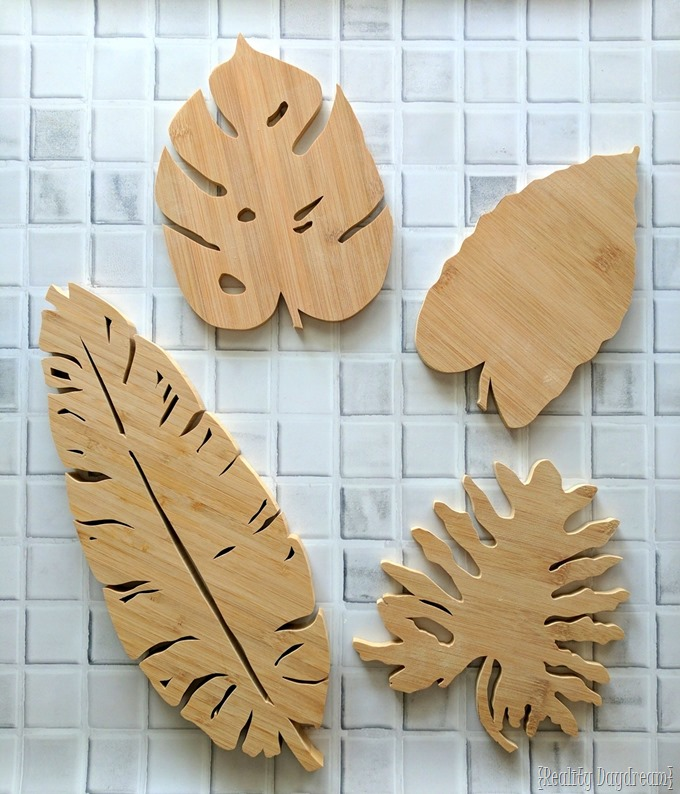 Wooden or Bamboo Leaf Trivets made from a cutting board with a SCROLL SAW! {Reality Daydream}