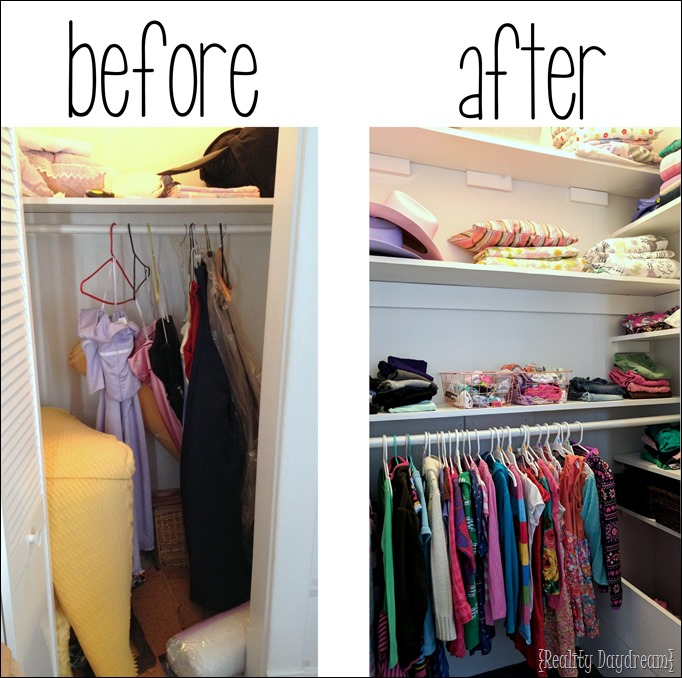 You can add SO MUCH SHELVING to any basic closet to maximize space and storage options. #organize {Reality Daydream}