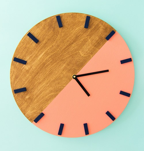 Colorblocked or dipped diy clock - Sarah Hearts