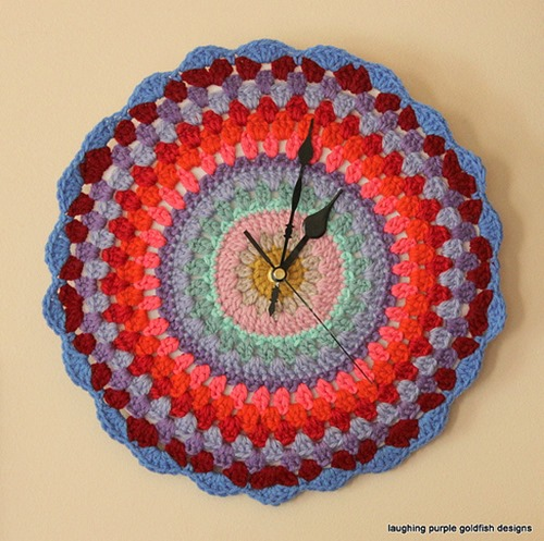 Crochet Clock by Laughing Purple Designs
