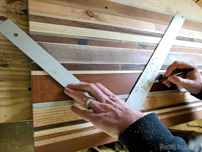 Cutting scrap wood into angles for this decorative inlay end table {Reality Daydream}