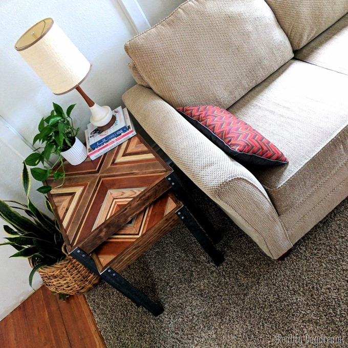 DIY Nesting End Tables made from scrap wood for that decorative inlay, and angle iron for the legs! {Reality Daydream}