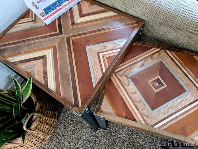 DIY Nesting End Tables made from scrap wood for that decorative inlay with angle iron for the legs! {Reality Daydream}
