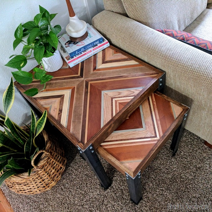 Decorative Wooden Inlay furniture nesting end tables TUTORIAL! {Reality Daydream}
