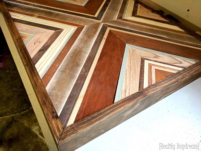 Decorative wooden inlay end tables using wood from your scrap pile and angle iron legs! {Reality Daydream}