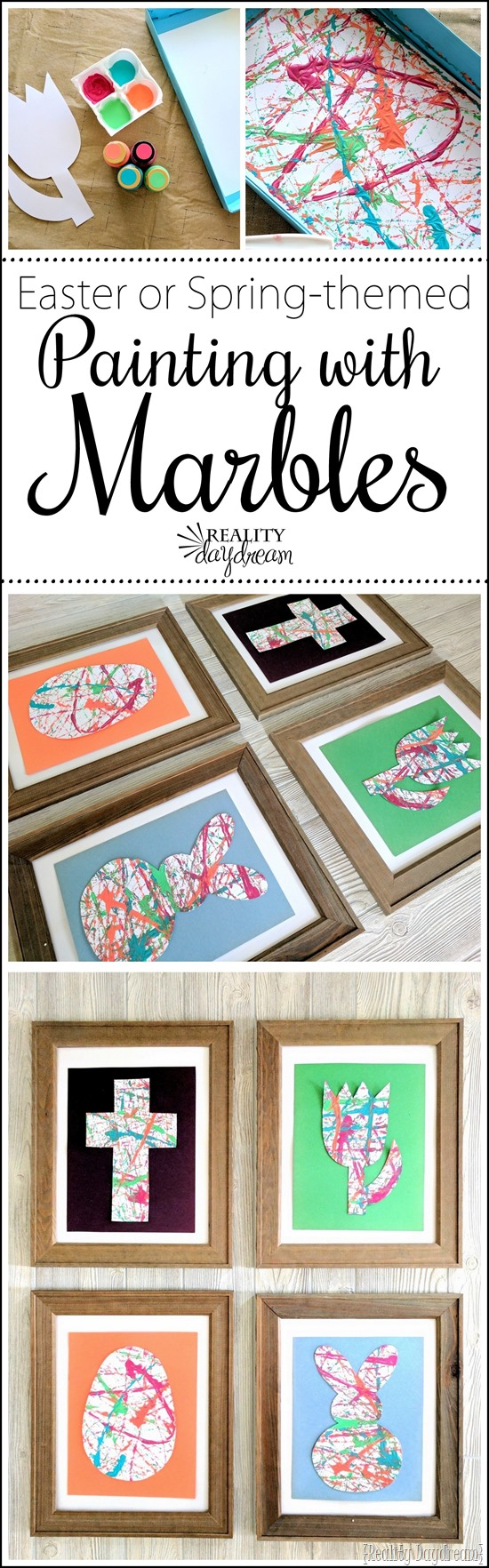 Easter or spring-themed marble paintings (or PAINTING WITH MARBLES basically!) ...such a fun kids craft! {Reality Daydream}
