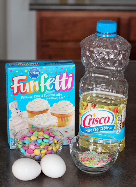 Ingredients for Funfetti Cake Mix Cookies