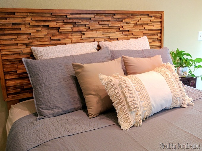 Josh's Wooden Stained Texture Headboard {Reality Daydream}