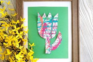 Easter or Spring-themed Kids Craft …MARBLE PAINTING!