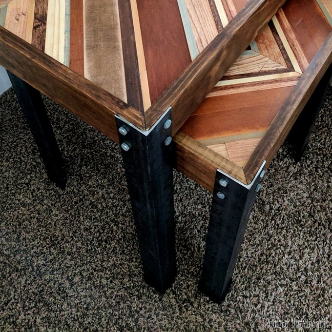 Nesting End Tables with decorative wooden inlay and angle iron legs! {Reality Daydream}