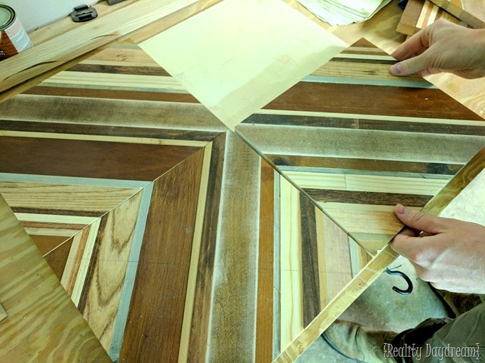 Nesting tables with a decorative wooden inlay design... using scrap wood and angle iron! {Reality Daydream}