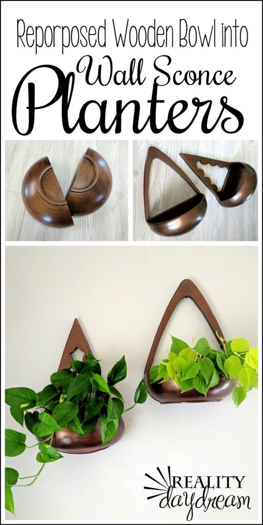 Repurposed wooden bowls made into these teardrop-shaped Wall Sconce PLANTERS! {Reality Daydream}