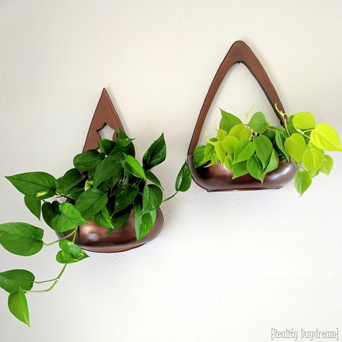 Wall sconce planters made from recycled wooden bowls {Reality Daydream}