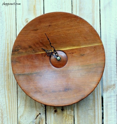 Wooden Bowl turned mid-century clock - Shoppe No 5