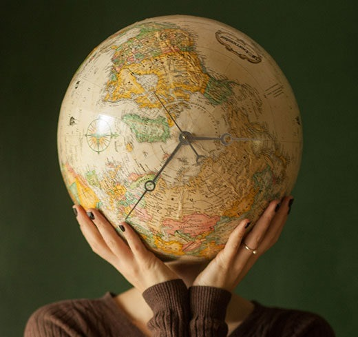 World Clock made out of a globe!
