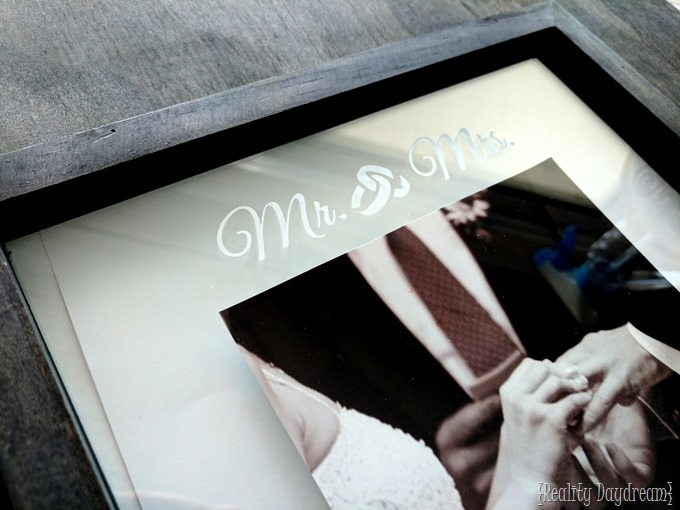 Acid Etched detail on a picture frame is such a gorgeous and subtle way to personalize the perfect wedding gift! {Reality Daydream}