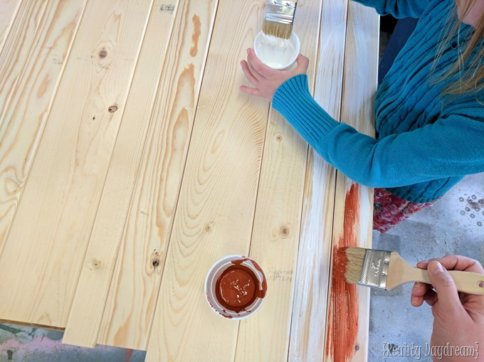 Aging the new wood to look like old barn wood... tinted a terra cotta color! Monogram rounds {Reality Daydream}