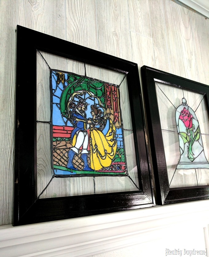 Beauty and the Beast Faux Stained Glass DIY {Reality Daydream}