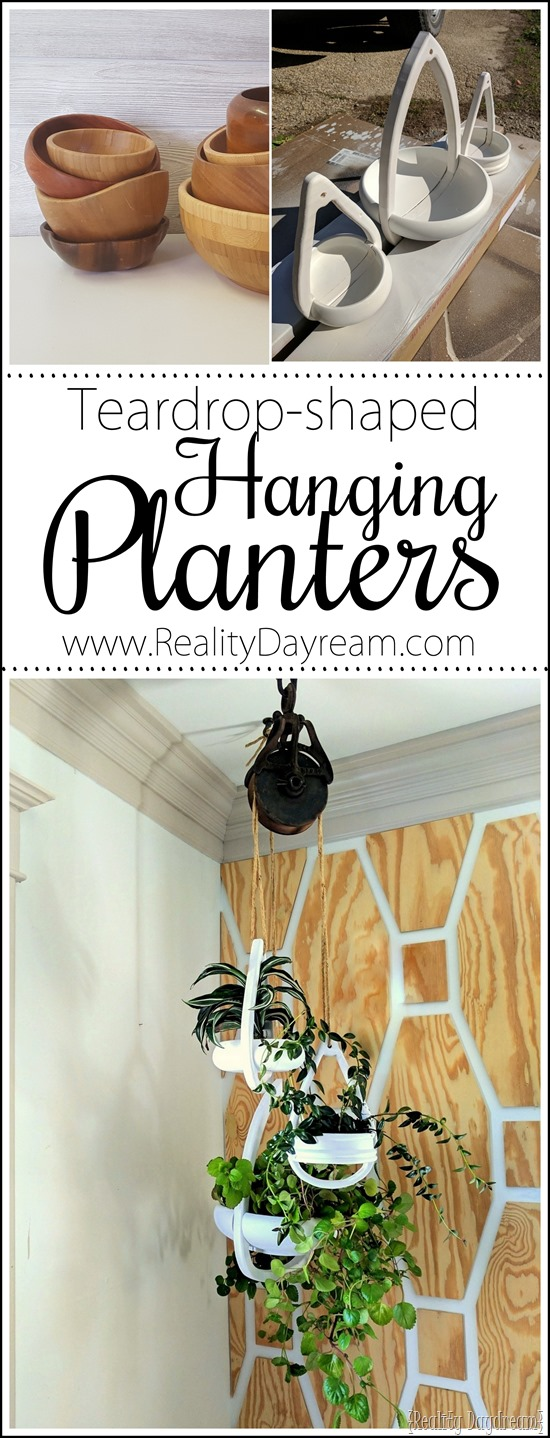 Boho style wooden teardrop-shaped Hanging Planters using repurposed wooden bowls! {Reality Daydream}