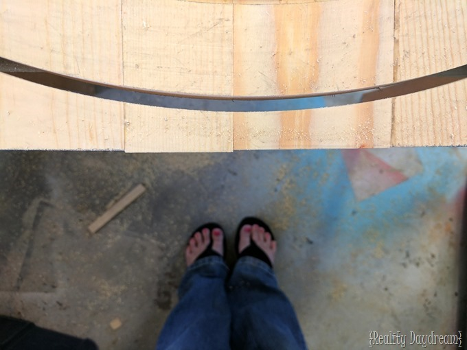 Cutting the percect circle using a jig for this Monogram Round {Reality Daydream}