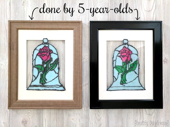 Faux stained glass Beauty and the Beast Rose can be a fun kids craft too! {Reality Daydream}