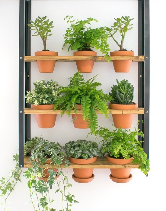 IKEA Hyllis hack with terra cotta pots for this vertical planter. Perfect for herbs! Living Wall Roundup by Reality Daydream}