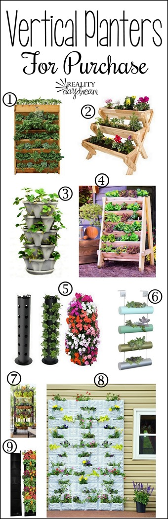 Lots of inspiring vertical planters for purchase #livingwall {Reality Daydream}
