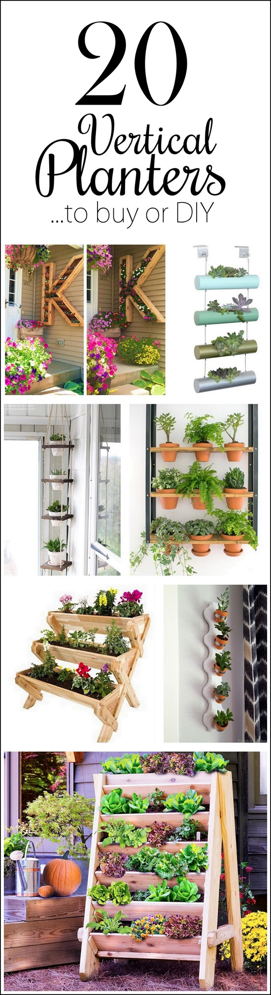 Lots of inspiring vertical planters or 'living walls' to buy or DIY! {Reality Daydream}