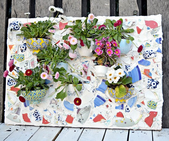Mosaic Wall Planter using broken china and teacups - part of a Living Wall roundup by Reality Daydream!