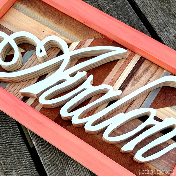 Name plaque made with a scroll saw. Perfect for a gallery wall! {Reality Daydream}