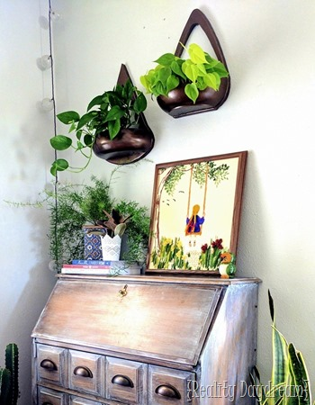 Wall Sconce Planters made out of repurposed wooden bowls {Reality Daydream}