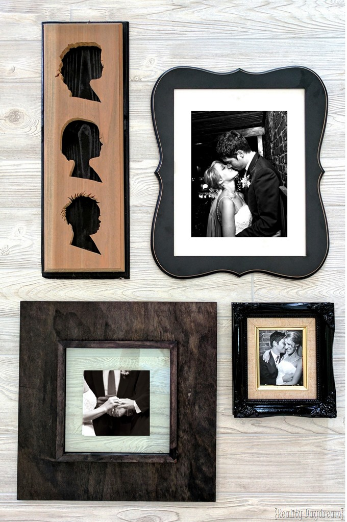 Wedding photo collage or gallery wall using personalized frames by etching the glass! {Reality Daydream}