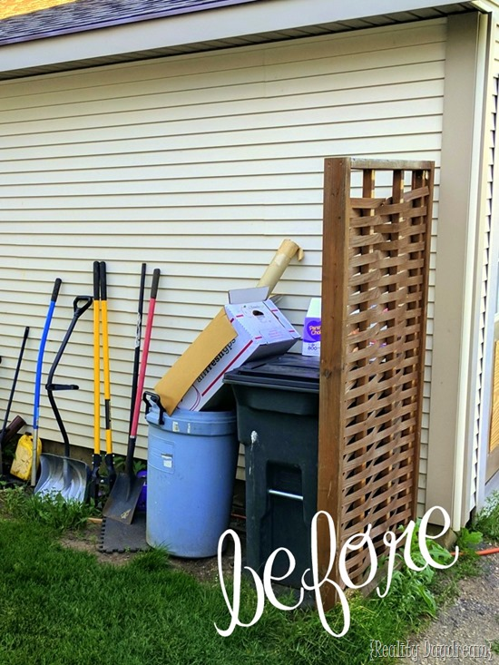 BEFORE of a serious garbage can situation... come see the potting bench slash garbage can enclosure! {Reality Daydream}