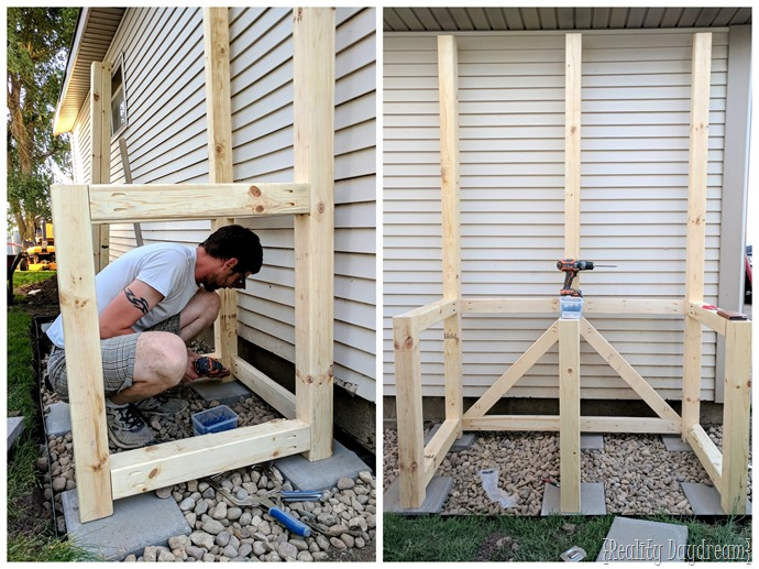 Build a potting bench with hidden garbage can enclosure {Reality Daydream}