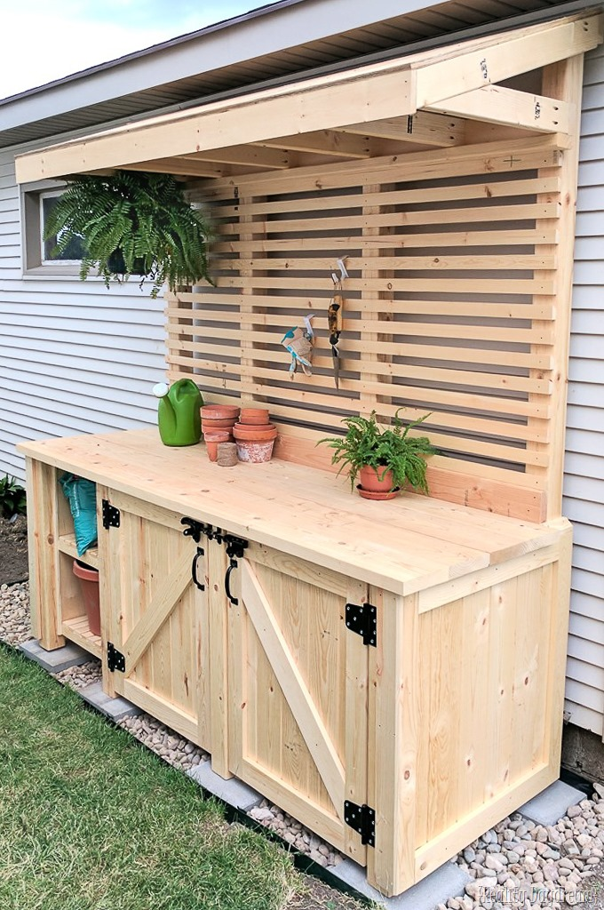 DIY Potting Bench with Hidden Garbage Can Enclosure! {Reality Daydream}