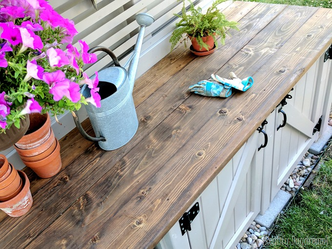 DIY Potting Bench with hidden garbage enclosure and painted with SW Perfect Greige {Reality Daydream}