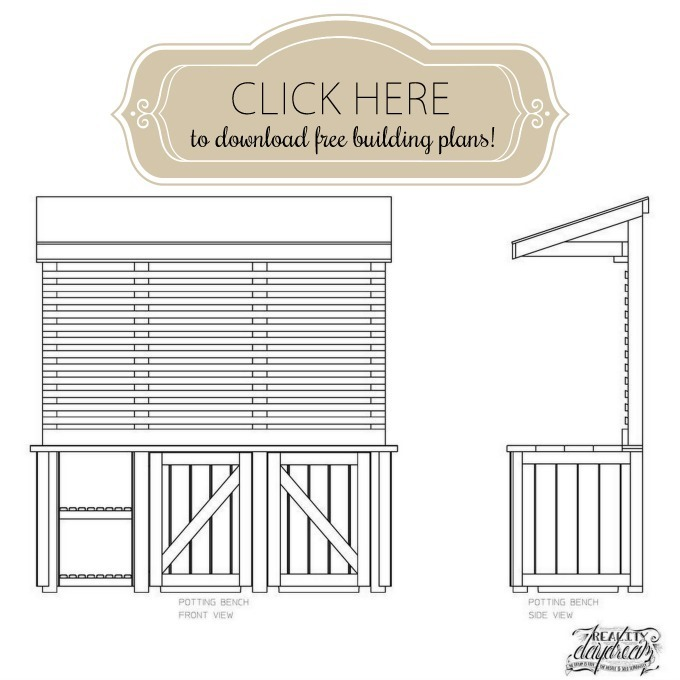 FREE Building Plans for this GIANT Potting Bench with hidden Garbage Can Enclosure! {Reality Daydream}