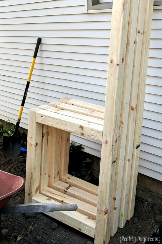 Leg assembly for large potting bench garbage disclosure {Reality Daydream}