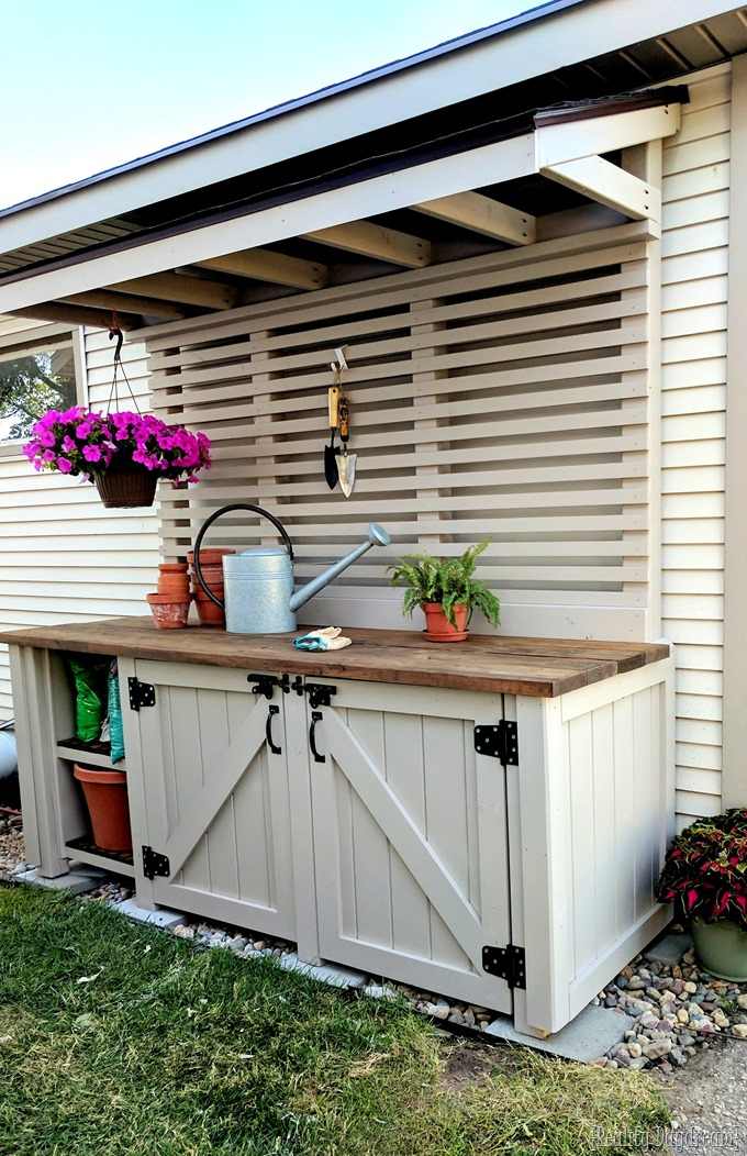 Potting Bench painted with Wagner Flexio and Sherwin Williams Perfect Greige {Reality Daydream}